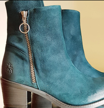 Load image into Gallery viewer, Fly London washed Dark Green Suede boot