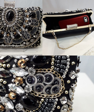 Load image into Gallery viewer, Black jewelled clutch