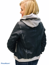 Load image into Gallery viewer, Navy Leather Bomber
