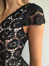 Load image into Gallery viewer, Black Lace on gold dress