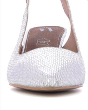 Load image into Gallery viewer, Silver mid heel sling back