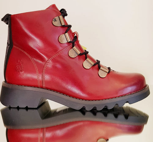 Red leather fly London boots.