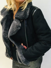 Load image into Gallery viewer, Vegan shearling Biker