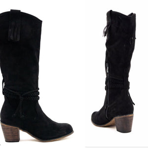 Soft black suedette boot