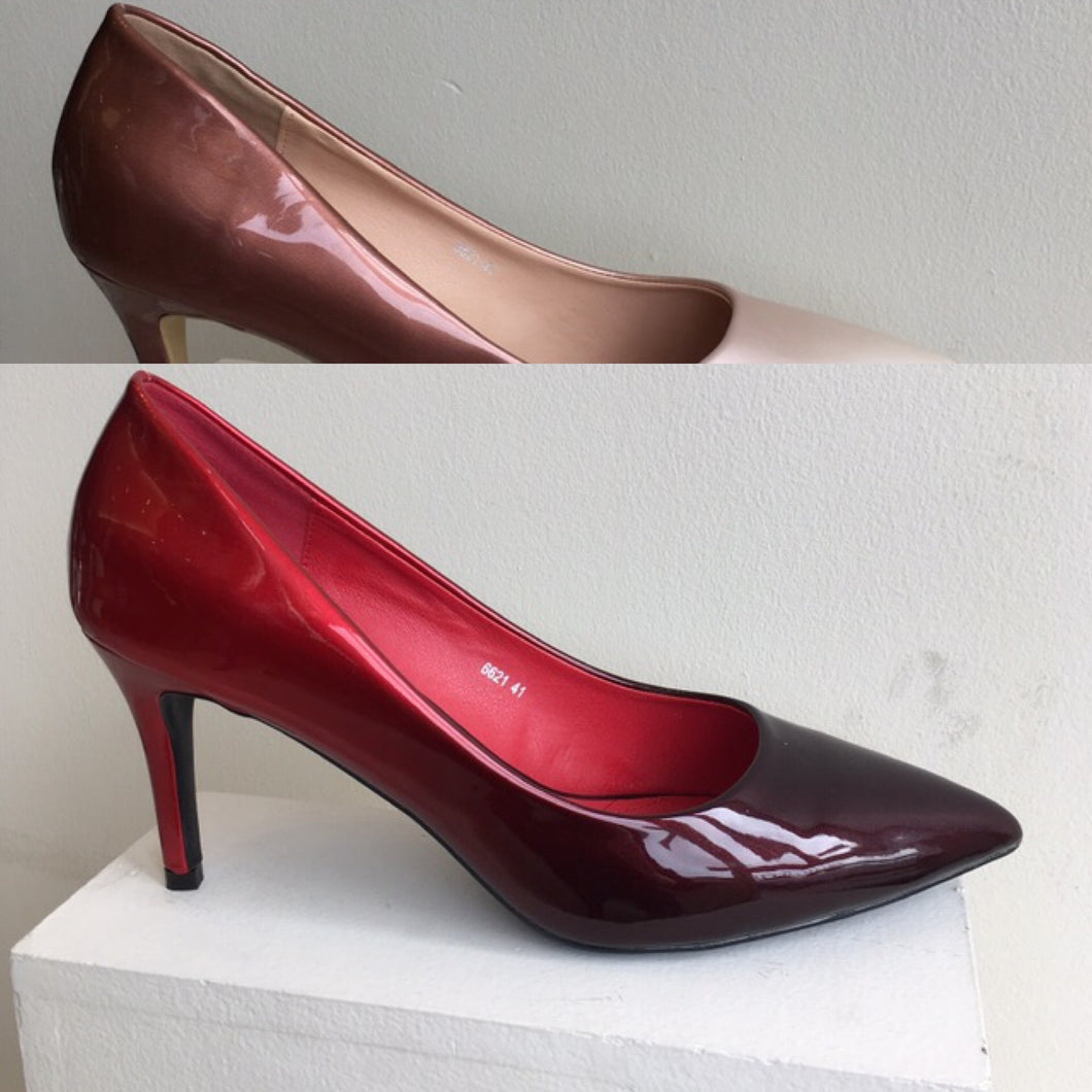 Two tone soft patent court shoe
