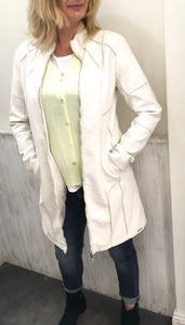 Cream faux leather panelled coat