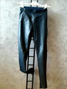Vegan stretch leather leggings