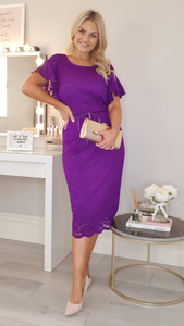 Purple stretch lace dress