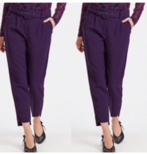 Purple slim pants.