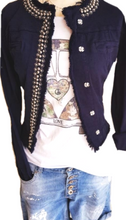 Load image into Gallery viewer, Navy stretch Denim jacket