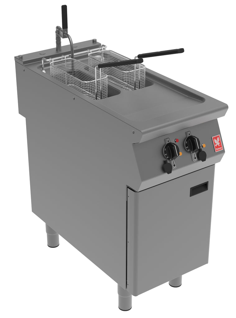 E9342F - Twin Pan Electric Fryer with In-Built Filtration