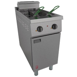 E421  - Twin Pan, Twin Basket Fryer without filtration