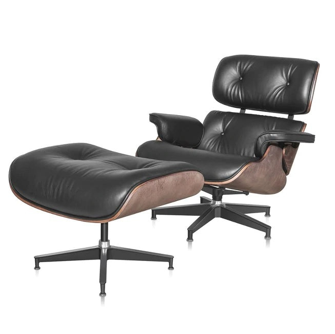 Eames Lounge Stoel Replica.Classic Charles Eames Lounge Chair And Ottoman Replica Black Leather W