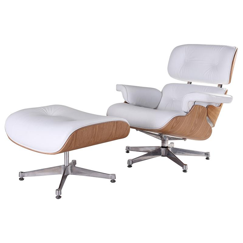 Super Classic Charles Eames Lounge Chair And Ottoman Replica White Leather Ash Wood Bralicious Painted Fabric Chair Ideas Braliciousco