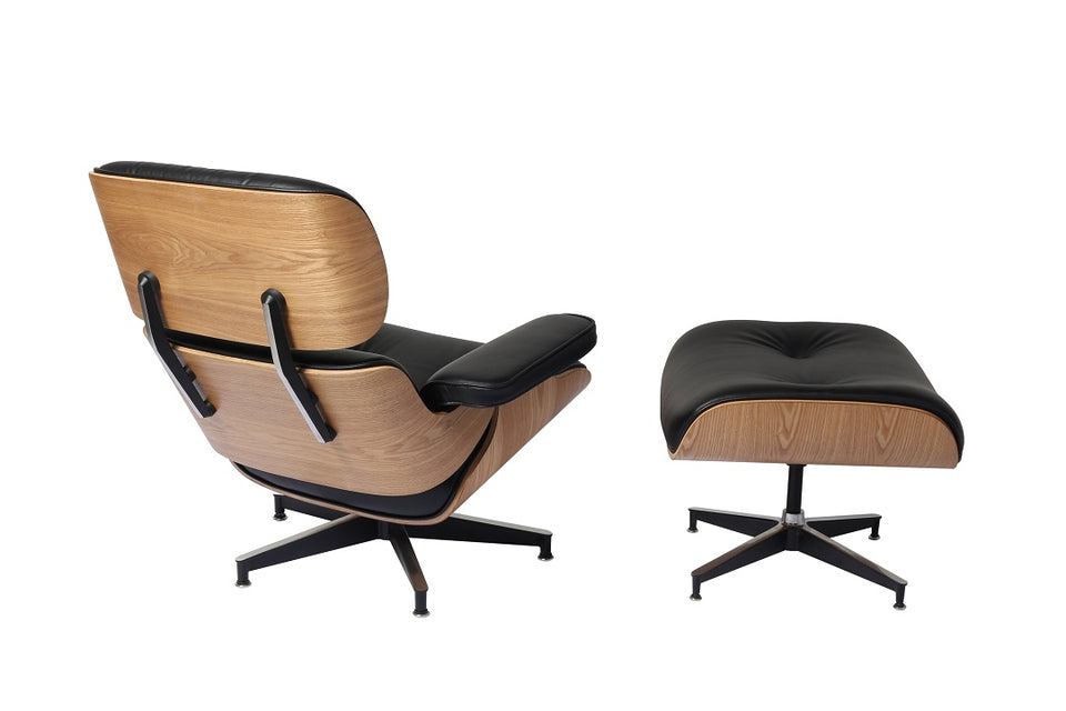 Eames Lounge Stoel Replica.Classic Charles Eames Lounge Chair And Ottoman Replica Black Leather