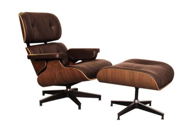 Eames Lounge Stoel Replica.Classic Charles Eames Lounge Chair And Ottoman Replica Chocolate Leath