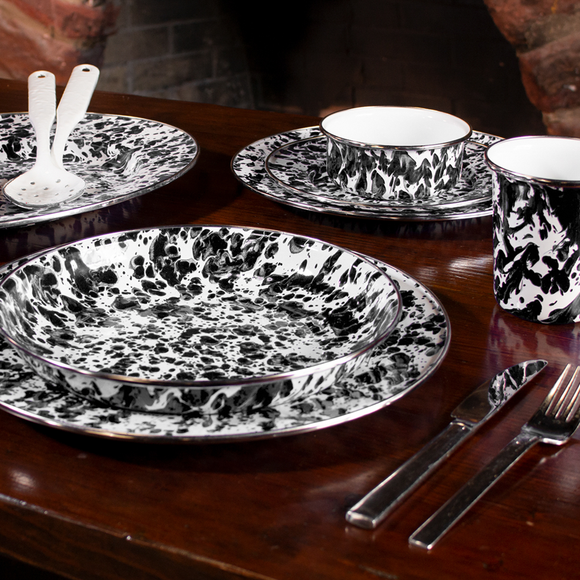 Black Swirl Enamelware Collection by Golden Rabbit