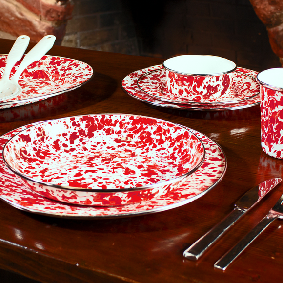 Red Swirl Enamelware by Golden Rabbit