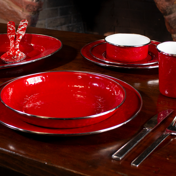 Solid Red Enamelware by Golden Rabbit