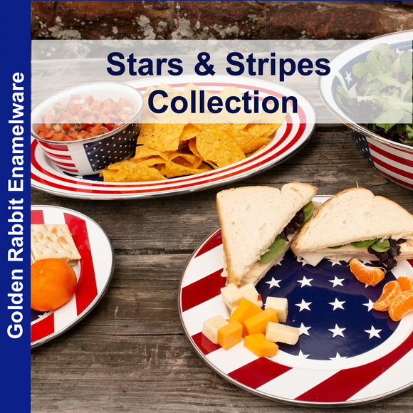Stars and Strips Enamelware Collection by Golden Rabbit