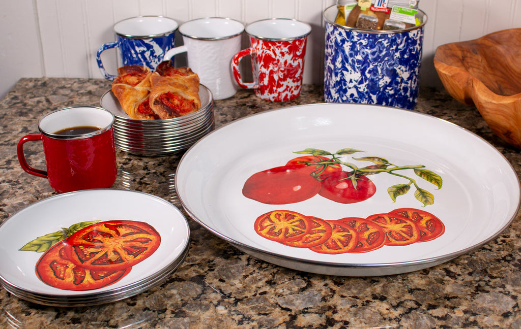 Golden Rabbit Tomatoes Pattern Enamelware