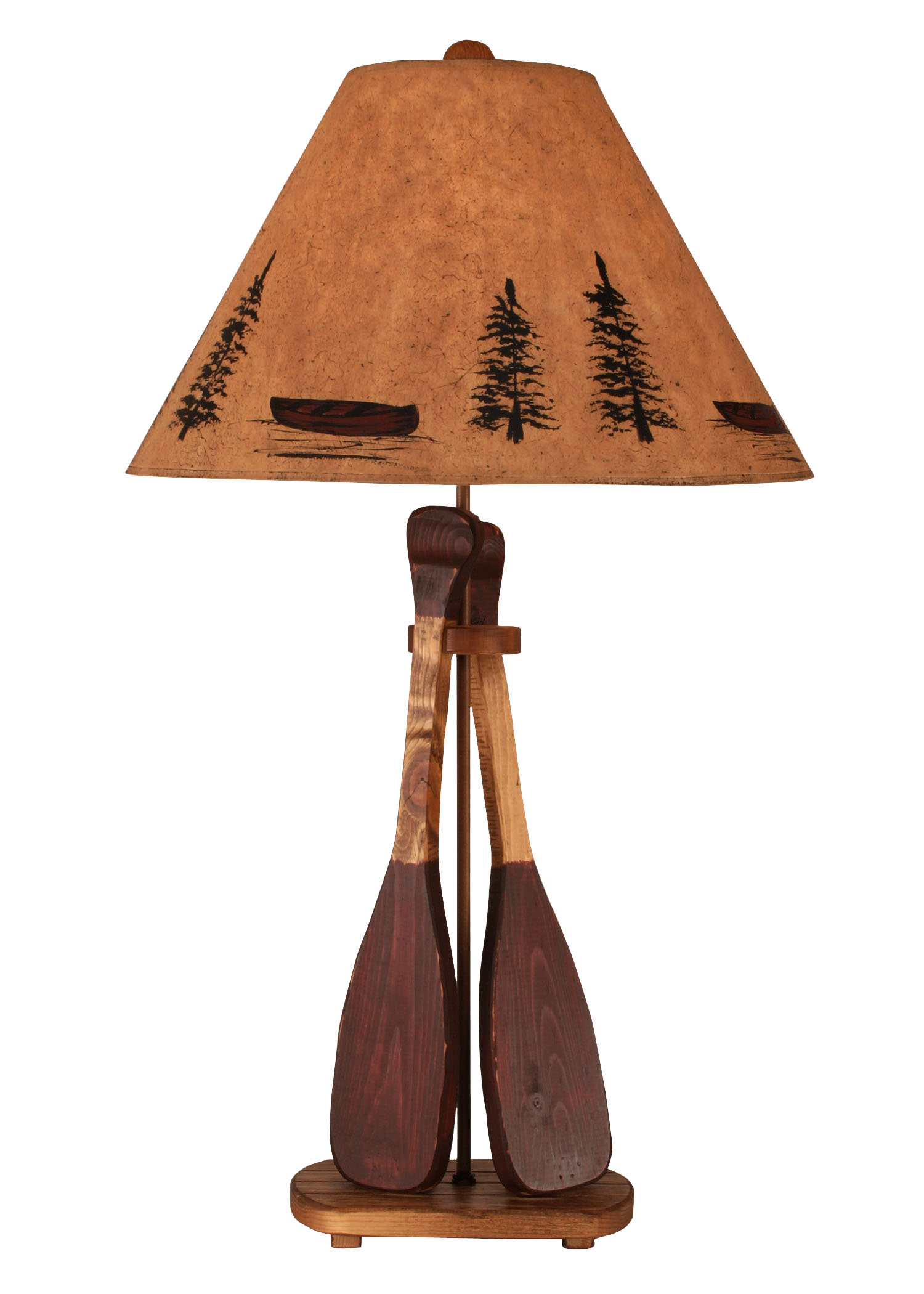12R11A - Wooden 2 Paddle - 31 Inch Rustic Table Lamp - ThunderHorseCabin.com