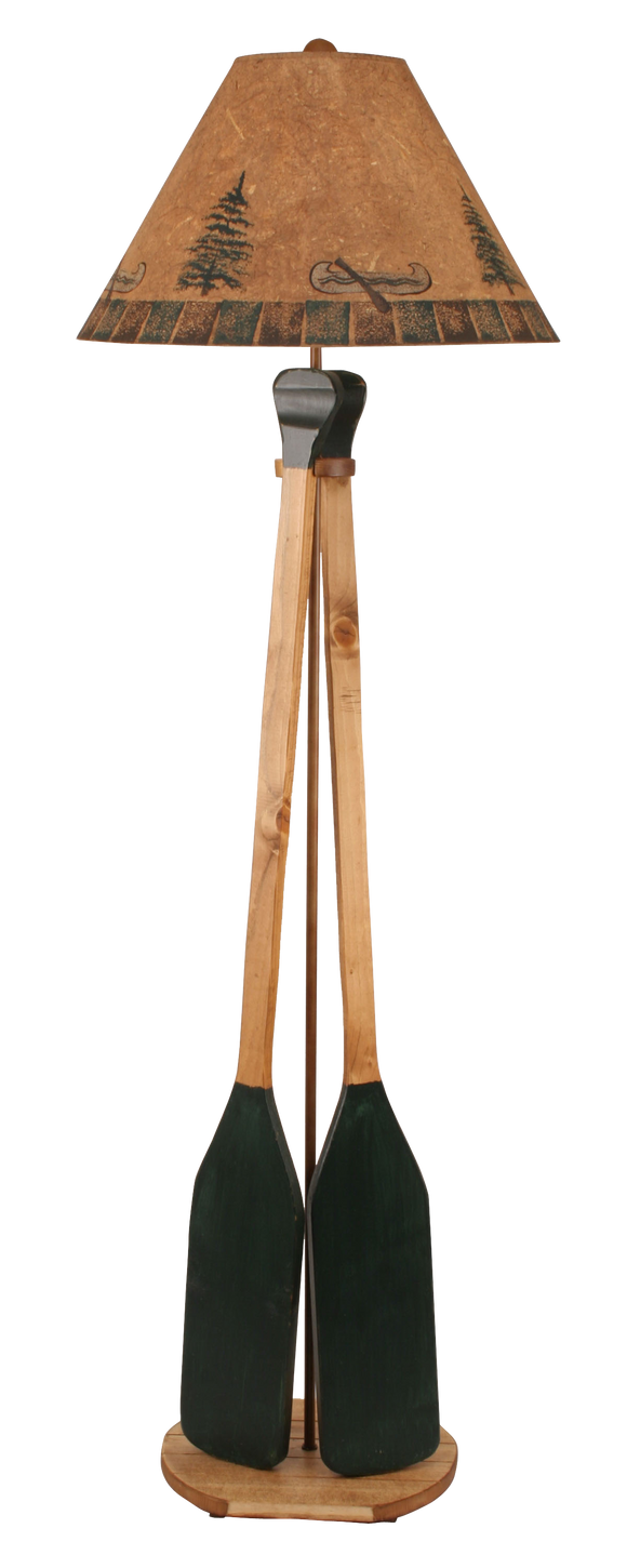 12R11D - Wooden 2 Paddle - 63 Inch Rustic Floor Lamp - ThunderHorseCabin.com