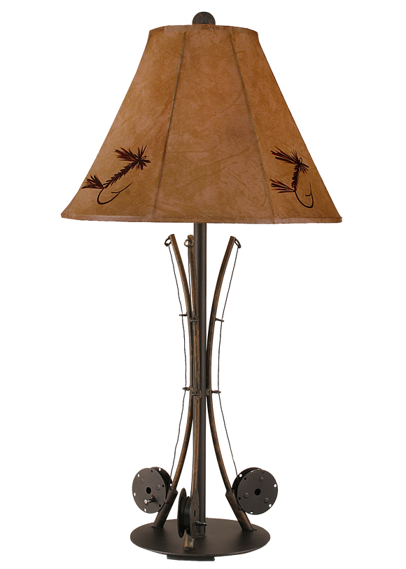 12R12B - Iron 3 Fishing Pole - 34 Inch Rustic Table Lamp - ThunderHorseCabin.com