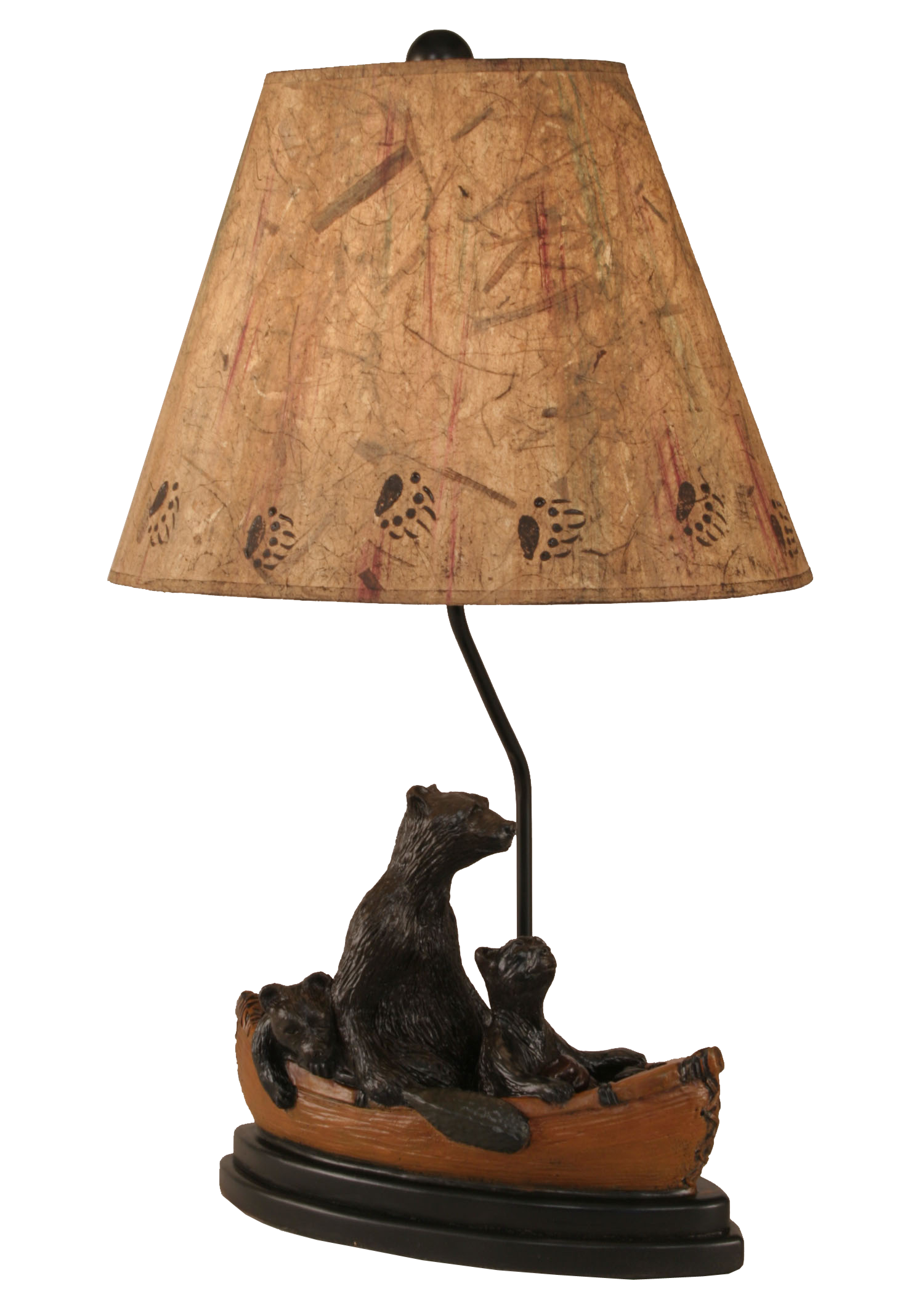 12R13D - Bear Family Canoe Kodiak Finish - 28.5 Inch Rustic Table Lamp - ThunderHorseCabin.com
