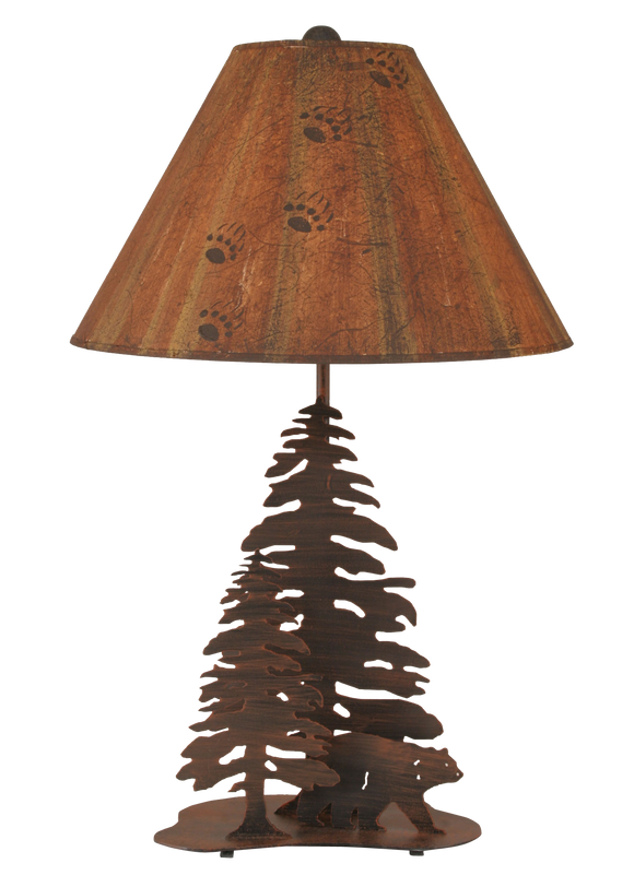 12R16B - Iron Walking Bear Trees - 28.5 Inch Rustic Table Lamp - ThunderHorseCabin.com