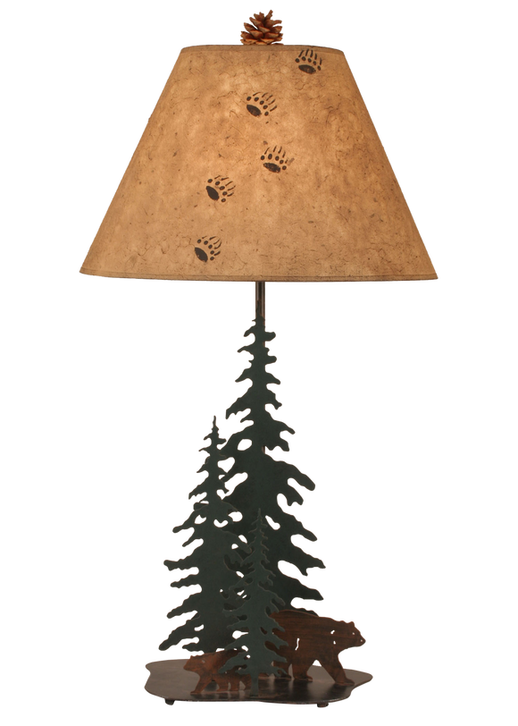 12R16D - Iron Pine Tress Bear Family - 33 Inch Rustic Table Lamp - ThunderHorseCabin.com