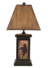 12R18C - Bear Scene - 30 Inch Rustic Table Lamp - ThunderHorseCabin.com