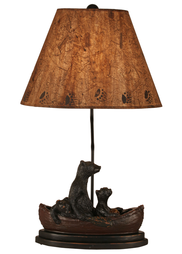 12R19C - Brown Canoe Bear Family - 28.5 Inch Rustic Table Lamp - ThunderHorseCabin.com