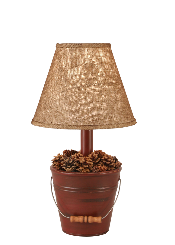 12R26A - Rustic Red Bucket Pine Cones - 18.5 Inch Rustic Table Lamp - ThunderHorseCabin.com