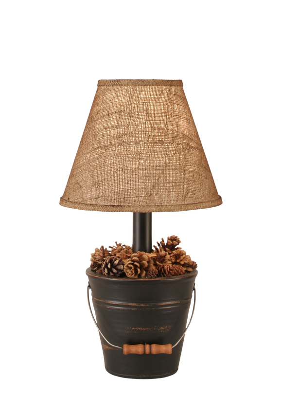 12R26D - Distressed Black Bucket Pine Cones - 18.5