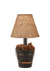 "12R26D - Distressed Black Bucket Pine Cones - 18.5"" Rustic Table Lamp - ThunderHorseCabin.com"