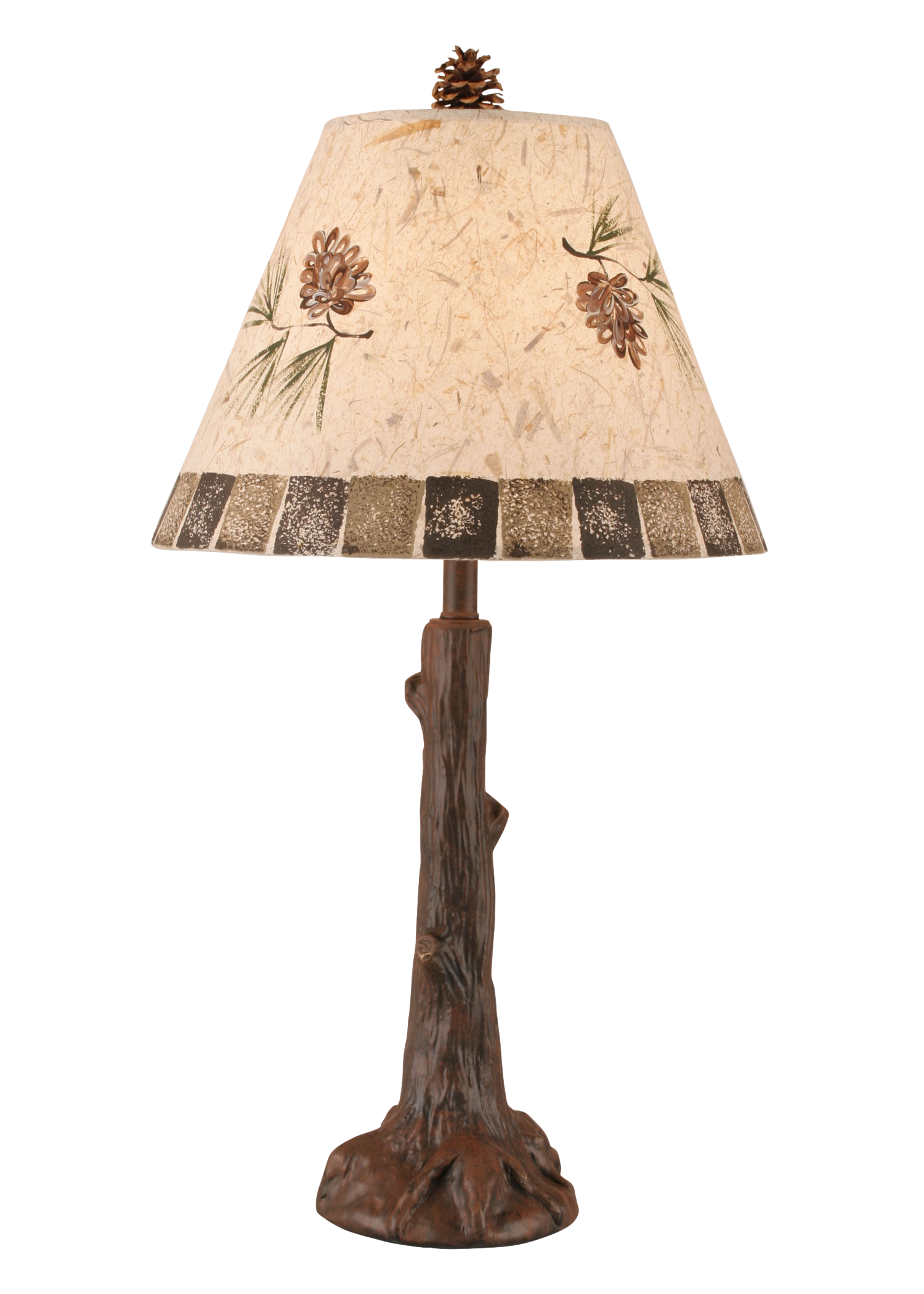 12R32C - Tree Trunk Pine Cone Shade - 27 Inch Rustic Table Lamp - ThunderHorseCabin.com