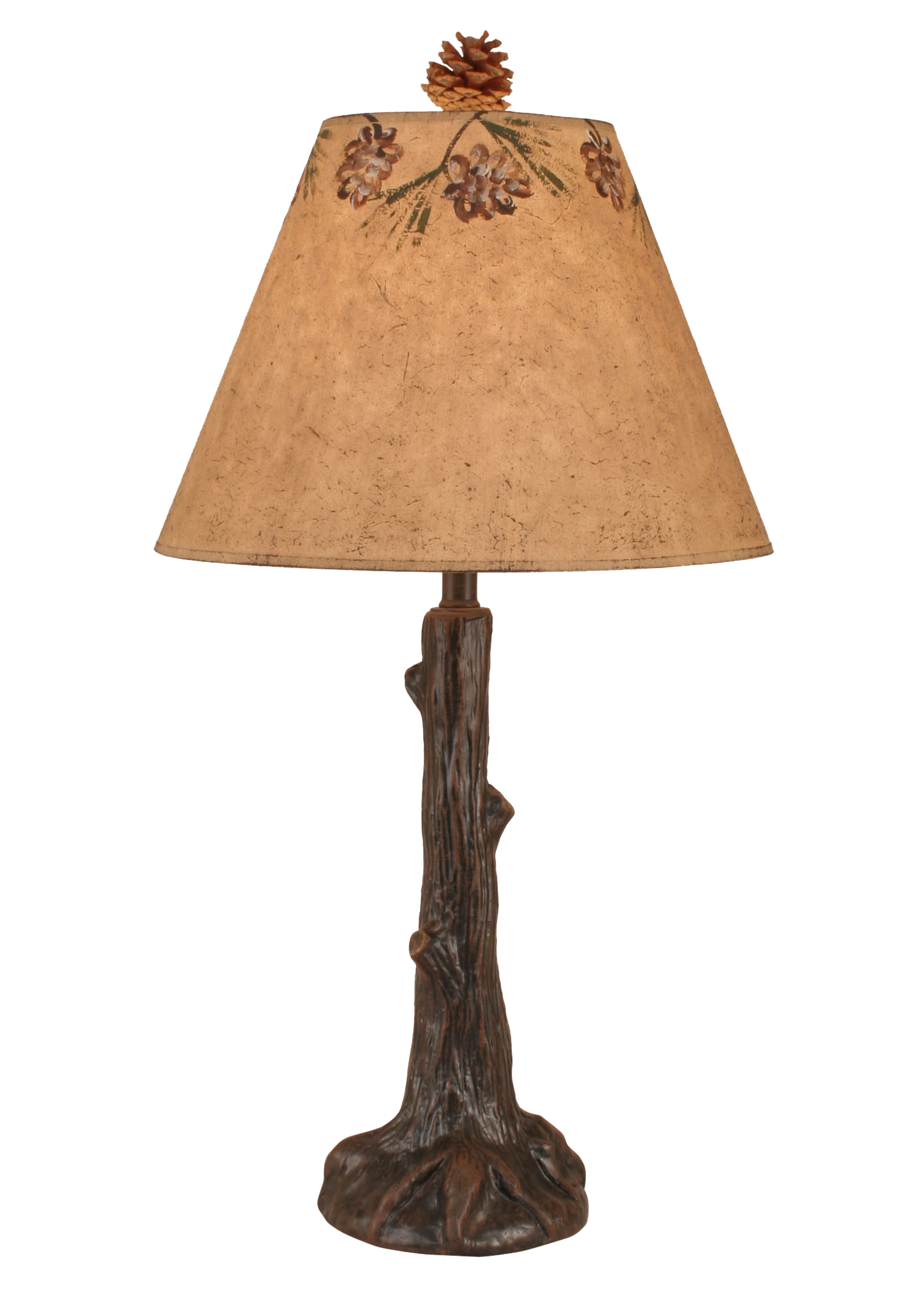 12R32E - Tree Trunk Rustic Pine Cone Shade - 27 Inch Rustic Table Lamp - ThunderHorseCabin.com