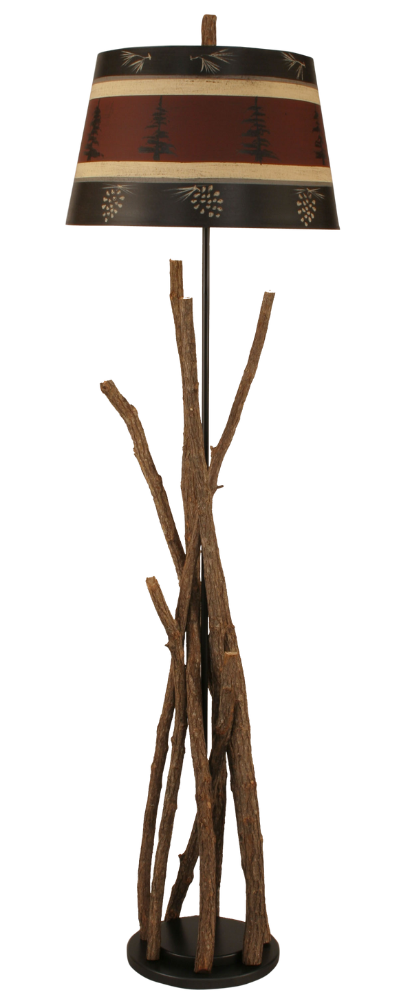 12R36A - Stick Red Shade - 64 Inch Rustic Floor Lamp - ThunderHorseCabin.com