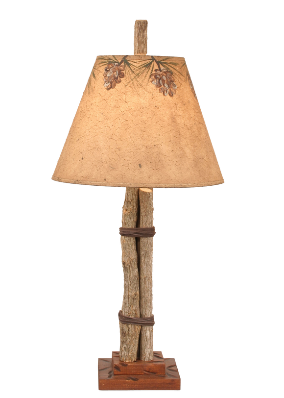 12R37B - Twig Leather Pine Cone Shade - 24 Inch Rustic Accent Lamp - ThunderHorseCabin.com