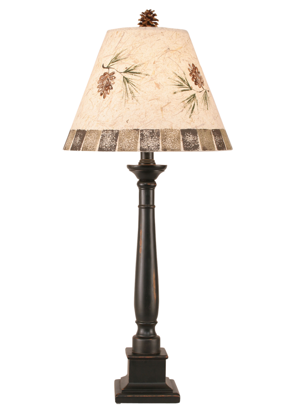 12R38C - Pine Branch Square Candlestick - 33 Inch Rustic Table Lamp - ThunderHorseCabin.com