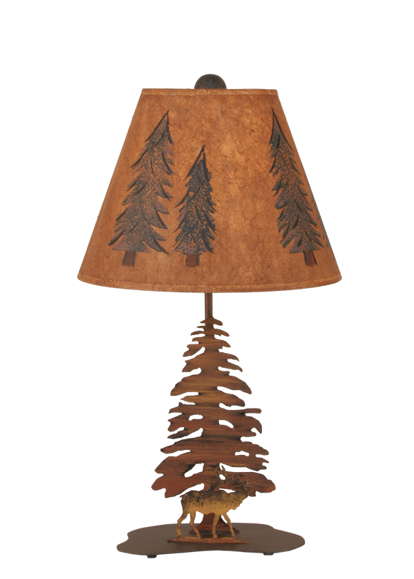 12R39A - Iron Elk Pine Trees - 21.5 Inch Rustic Accent Lamp - ThunderHorseCabin.com