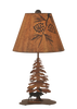 12R39C - Iron Moose and Pine Trees - 21.5 Inch Rustic Accent Lamp - ThunderHorseCabin.com