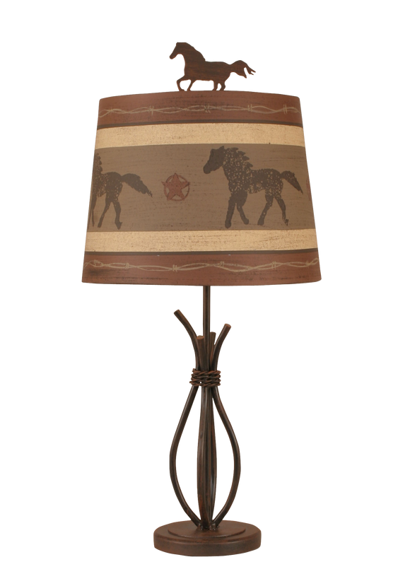 12R45D - Western Iron - 24 Inch Western Accent Lamp - ThunderHorseCabin.com