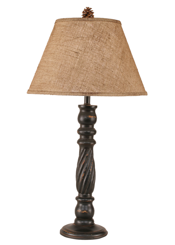 12R4C - Swirl Pedestal - 32 Inch Country Table Lamp - ThunderHorseCabin.com