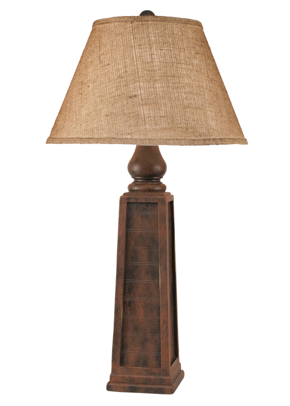 12R4D - Pyramid Pedestal - 33 Inch Country Table Lamp - ThunderHorseCabin.com