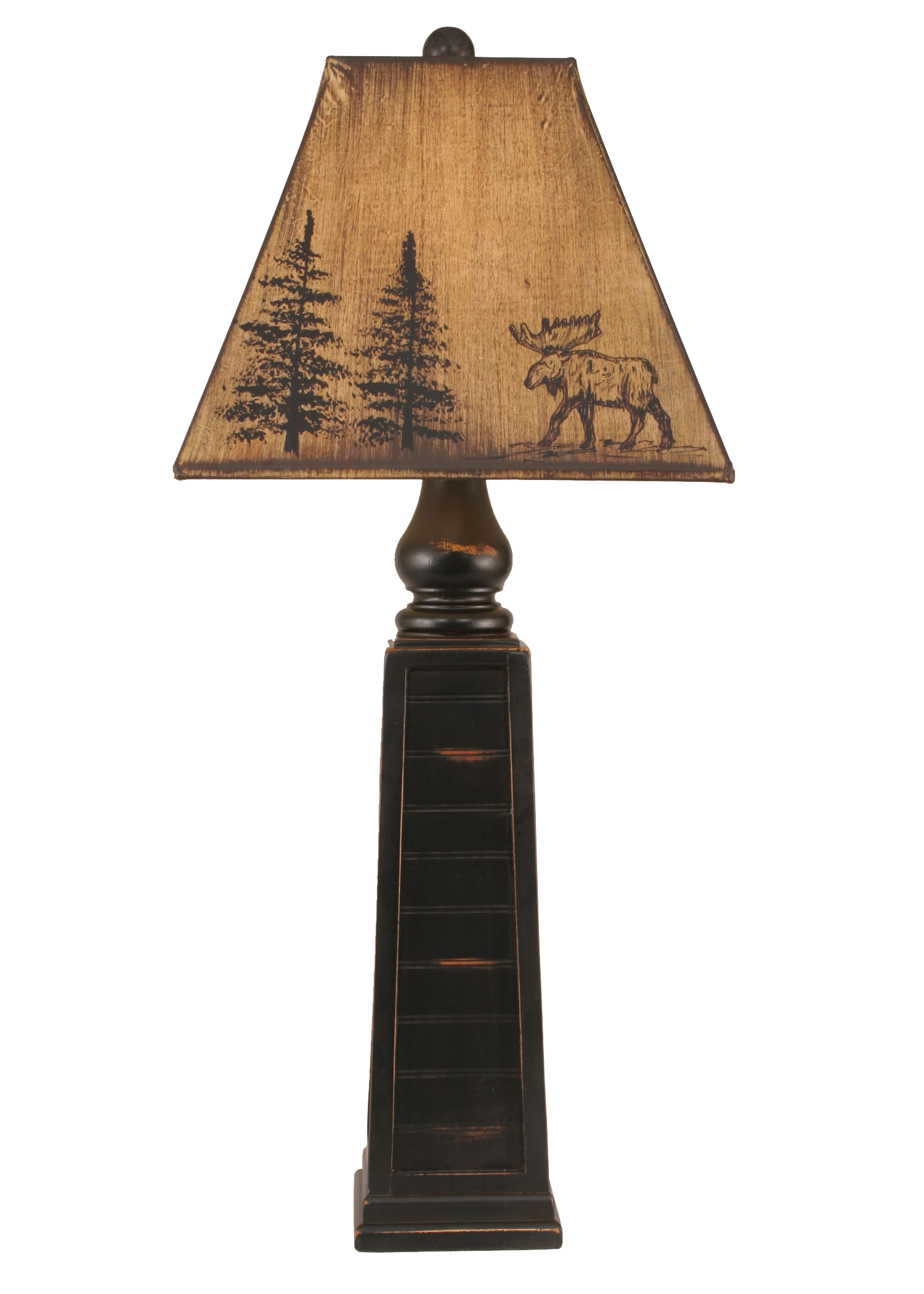 12R7A - Moose and Pine Pedestal - 33 Inch Rustic Table Lamp - ThunderHorseCabin.com