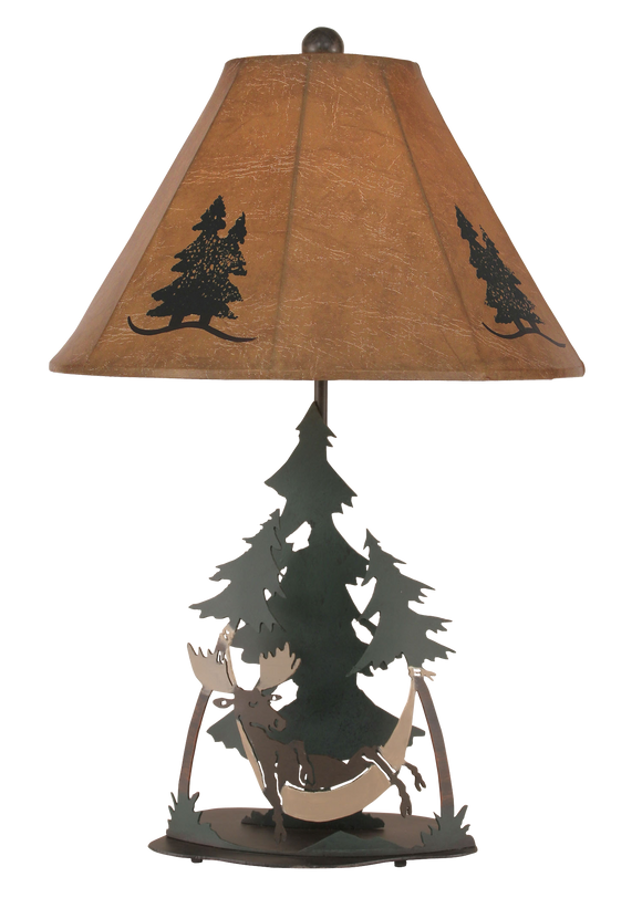 12R7D - Iron Moose Hammock - 28.5 Inch Rustic Table Lamp - ThunderHorseCabin.com