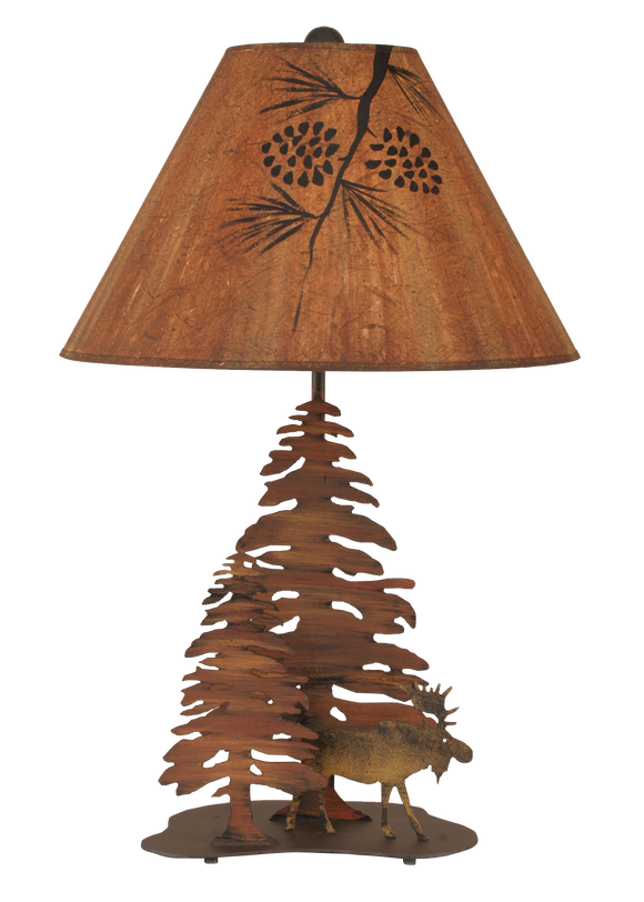 12R8B - Iron Moose Trees - 28.5 Inch Rustic Table Lamp - ThunderHorseCabin.com