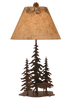 12R8C - Iron Pine Trees Moose - 33 Inch Rustic Table Lamp - ThunderHorseCabin.com